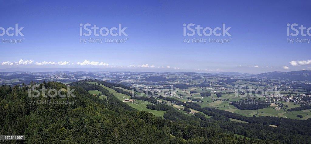Panorama of the Swiss plateau stock photo