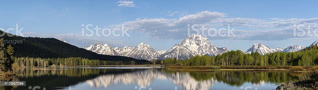 Panorama of the Teton Mountain Range stock photo