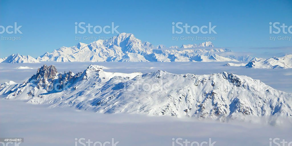 Panorama of the the Mont Blanc, the Alps, France stock photo
