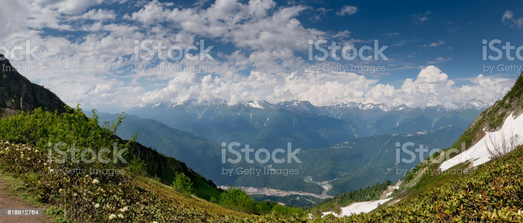 Panorama of the top of the Caucasus mountains stock photo