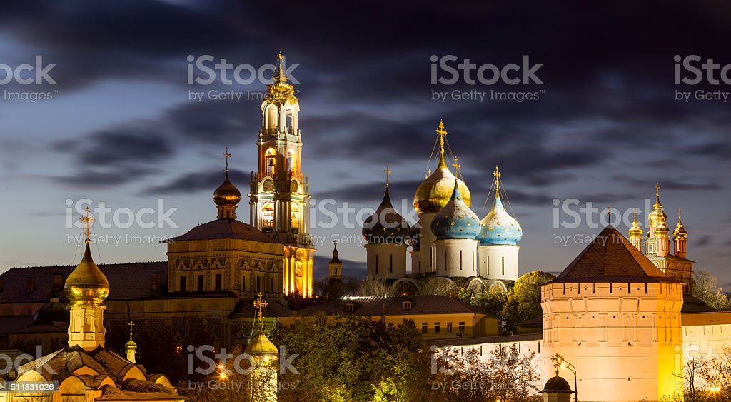 Panorama of the Trinity Lavra of St. Sergius after sunset stock photo