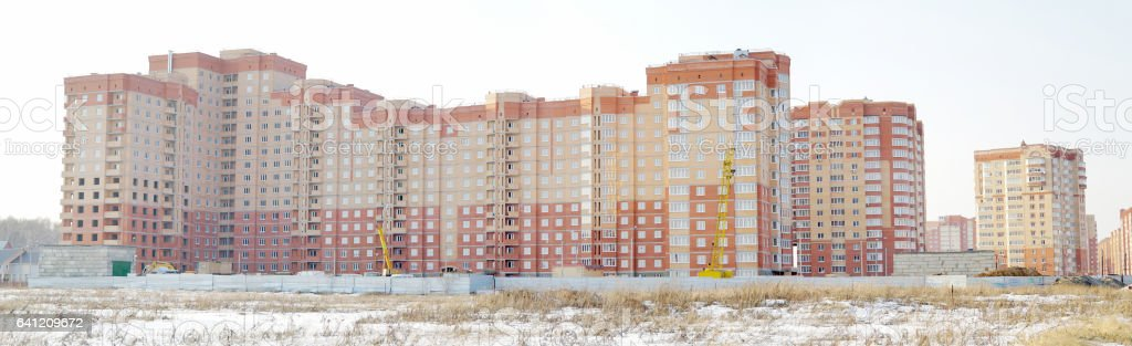 Panorama of the under construction house in the winter in a Domodedovo city, Moscow Region stock photo