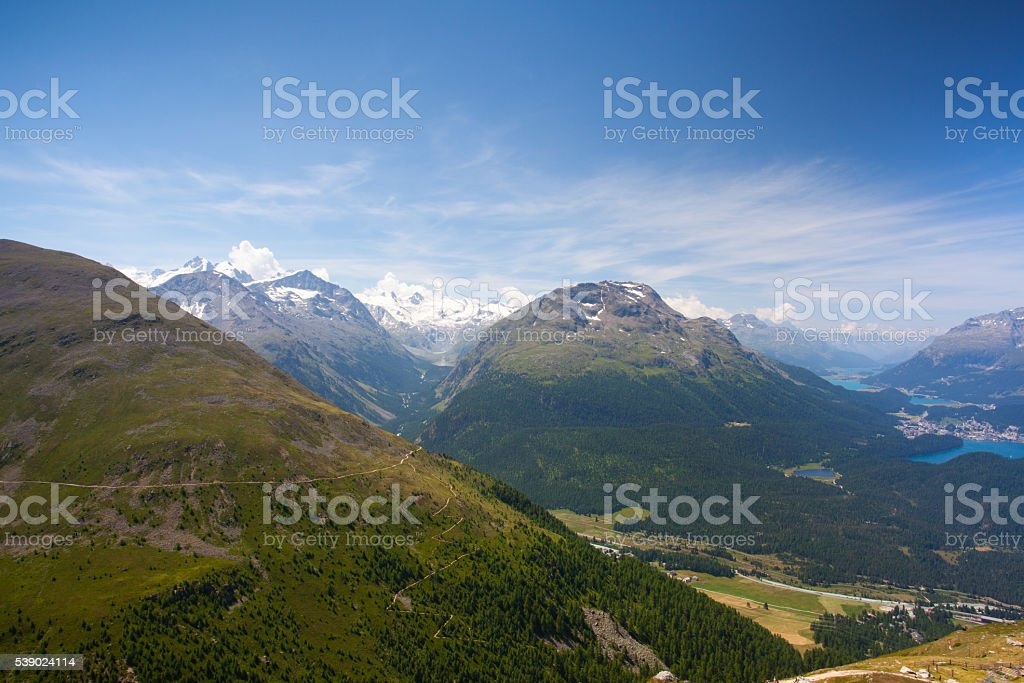 Panorama of the Upper Engadine from Muottas Muragl stock photo