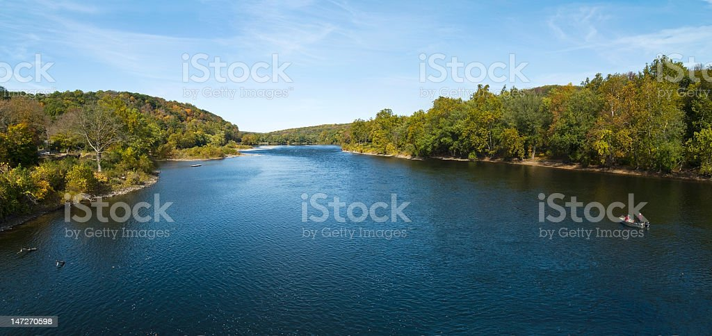 A panorama of the vibrantly blue Delaware River stock photo