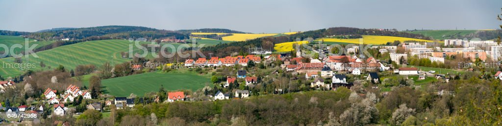 Panorama of the village in Germany stock photo