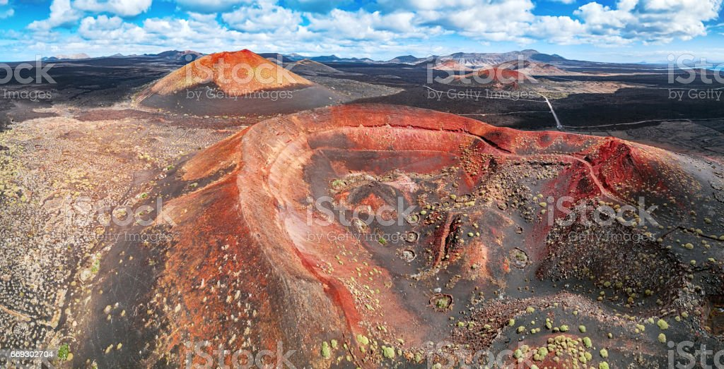 Panorama of Timanfaya National Park, Lanzarote, Canary Islands stock photo