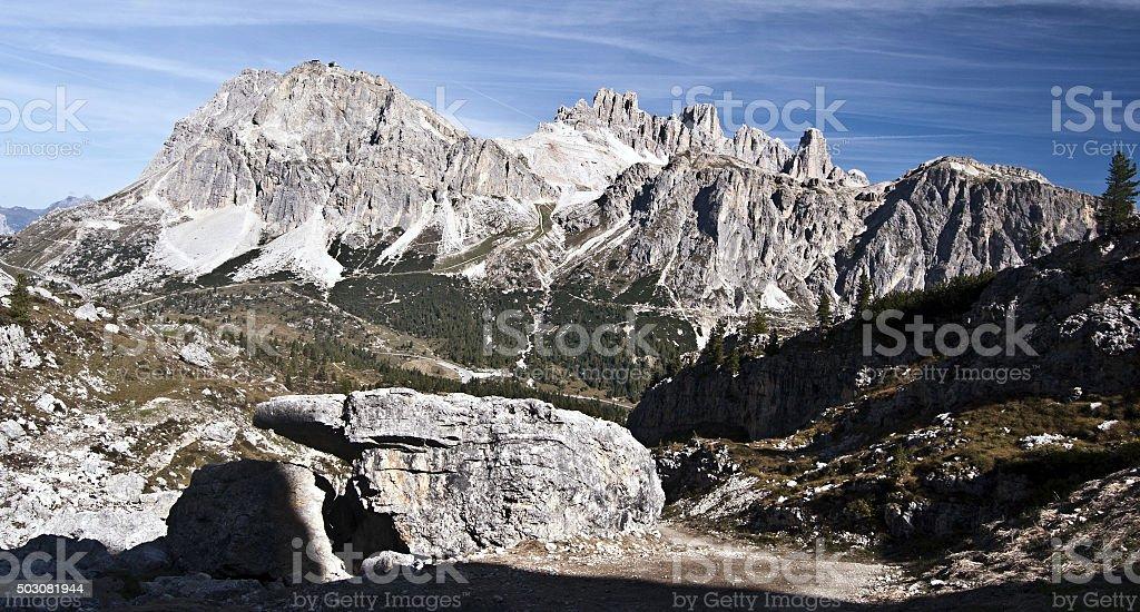 panorama of Tofana and Laguazoi mountain groun in Dolomites stock photo