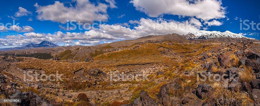 Panorama of Tongariro stock photo
