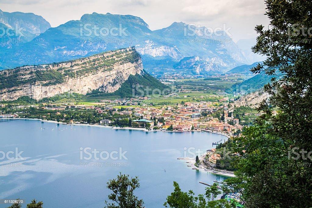 Panorama of Torbole, Lake Garda, Italy. stock photo