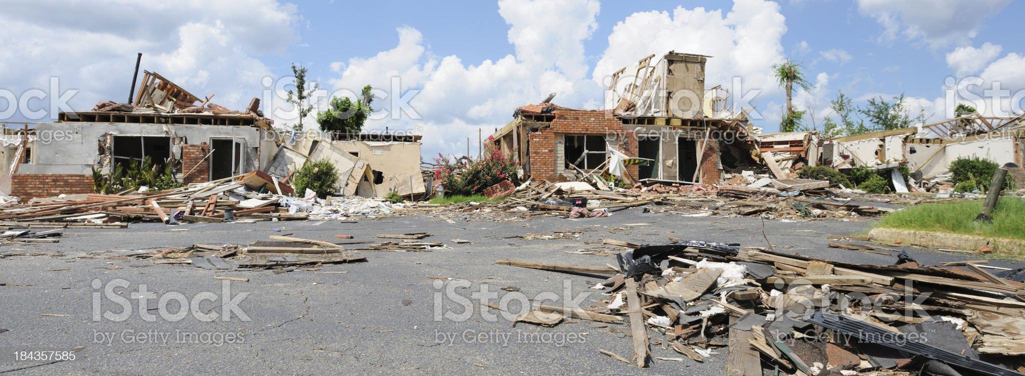 Panorama of tornado damage royalty-free stock photo