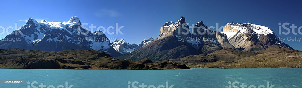 Panorama of Torres del Paine from Lake Pehoe stock photo