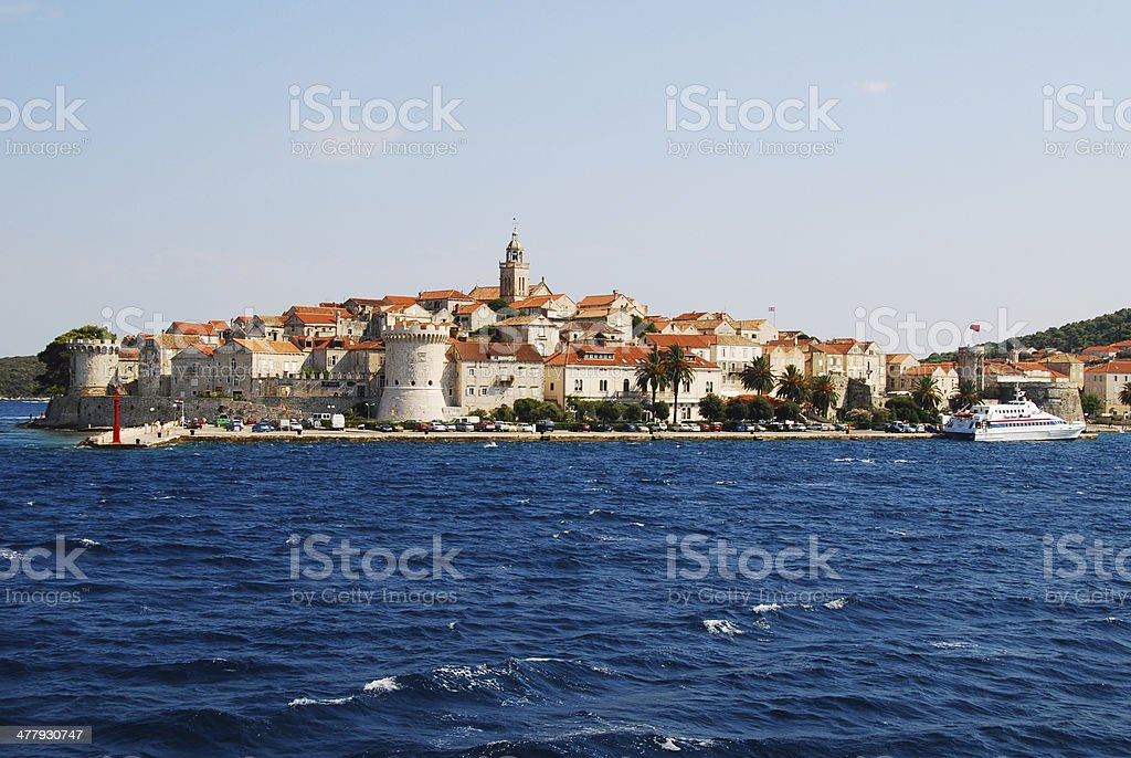 Panorama of town of Korcula stock photo