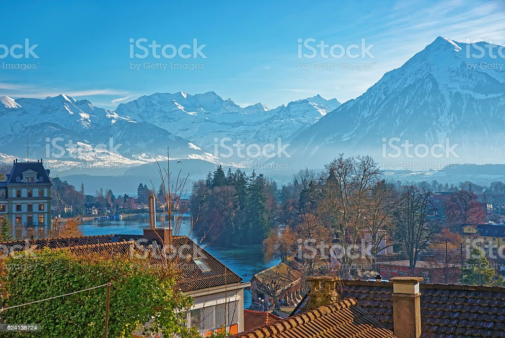 Panorama of Town of Thun with Thunersee and Alps stock photo