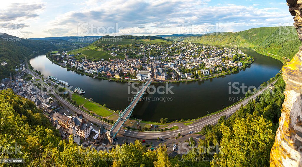 Panorama of Traben Trarbach, Middle Moselle River, Germany stock photo