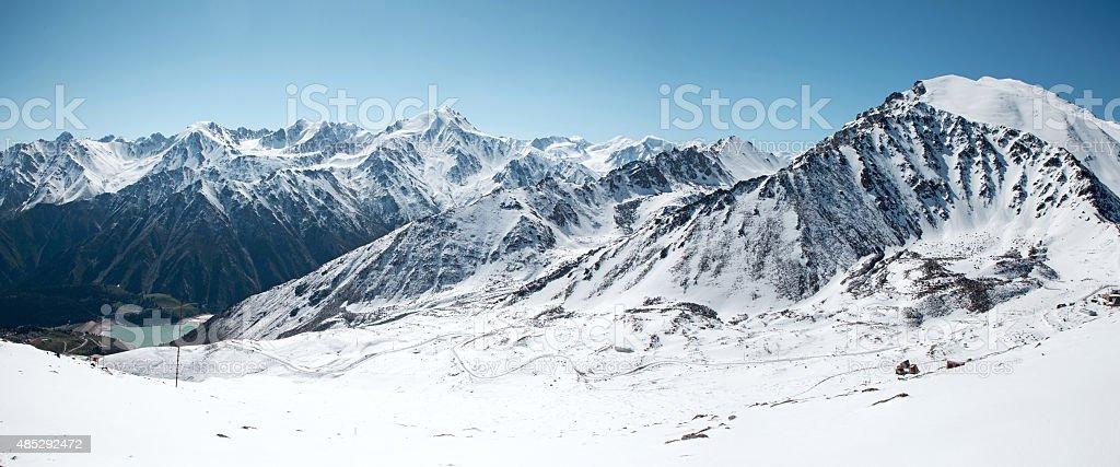Panorama of Trans-Ili Alatau mountains. stock photo