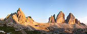 Panorama of Tre Cime and Monte Paterno at sunset