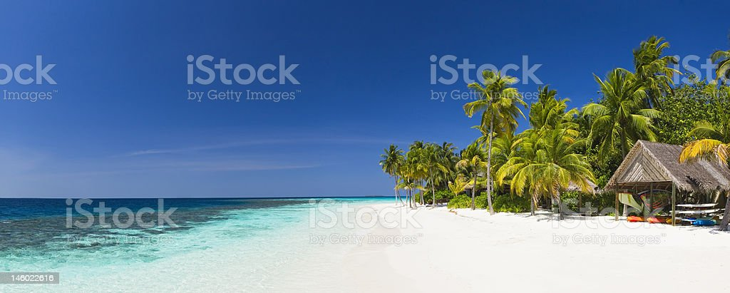 Panorama of tropical island resort stock photo