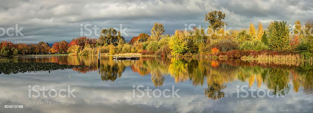 panorama of Trout Lake in autumn, Vancouver, BC, Canada stock photo