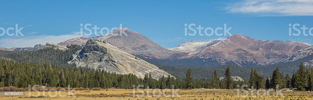 Panorama of Tuolumne Meadows in Yosemite National Park stock photo