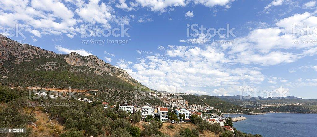 Panorama of Turkish Riviera and village Kas stock photo