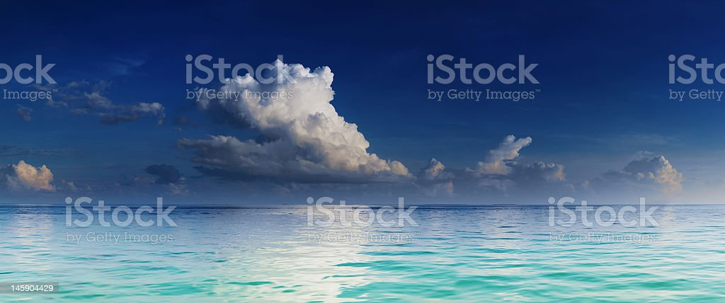 Panorama of turquoise lagoon royalty-free stock photo