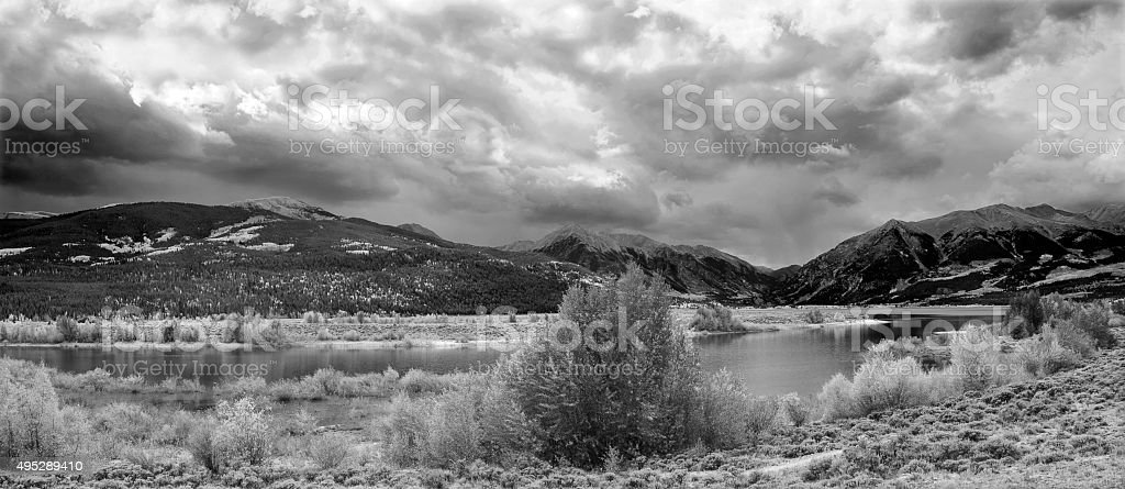 Panorama of Twin Lakes in the Colorado Rockies stock photo