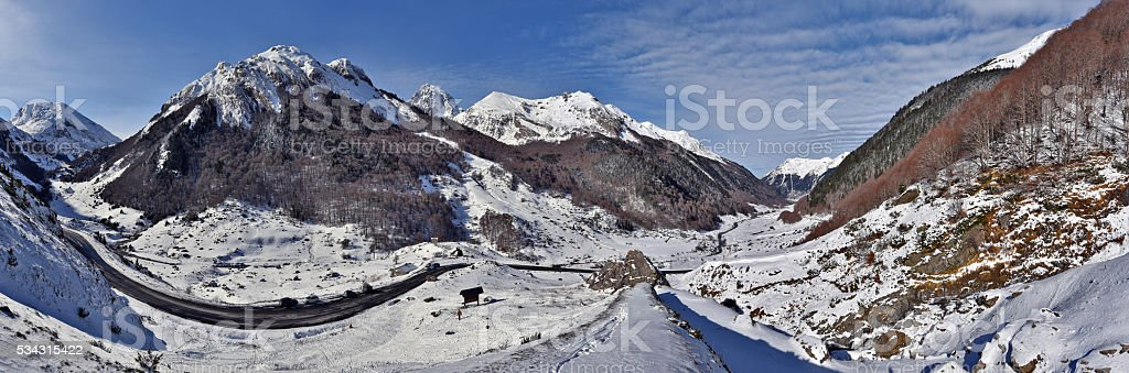 Panorama of Valley Ossau in winter Pyrenees stock photo