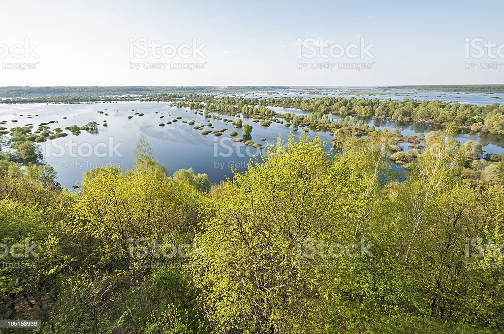 Panorama of vast Desna River annual spring overflow royalty-free stock photo