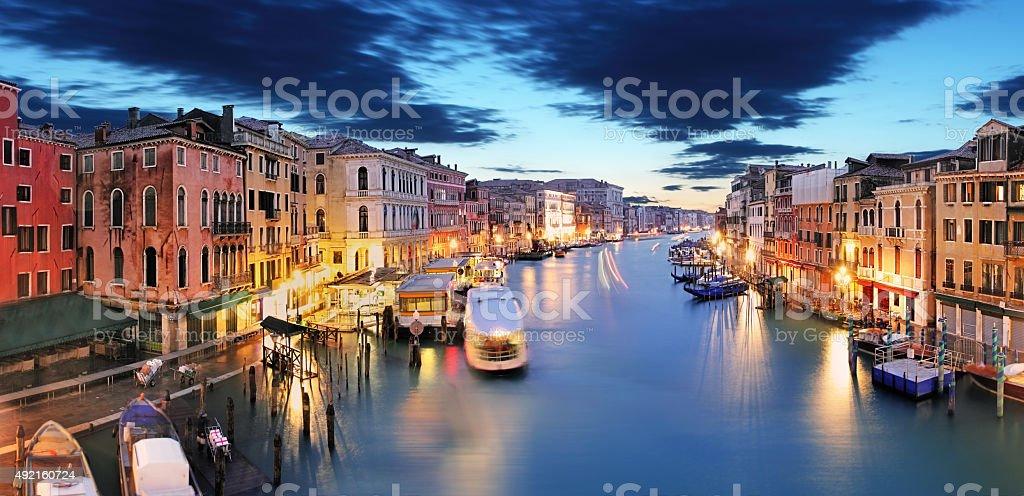 Panorama of Venice from Rialto bridge stock photo