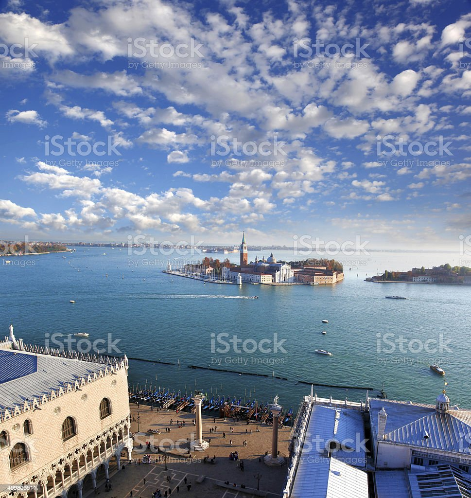 Panorama of Venice with Doge palace in Italy royalty-free stock photo