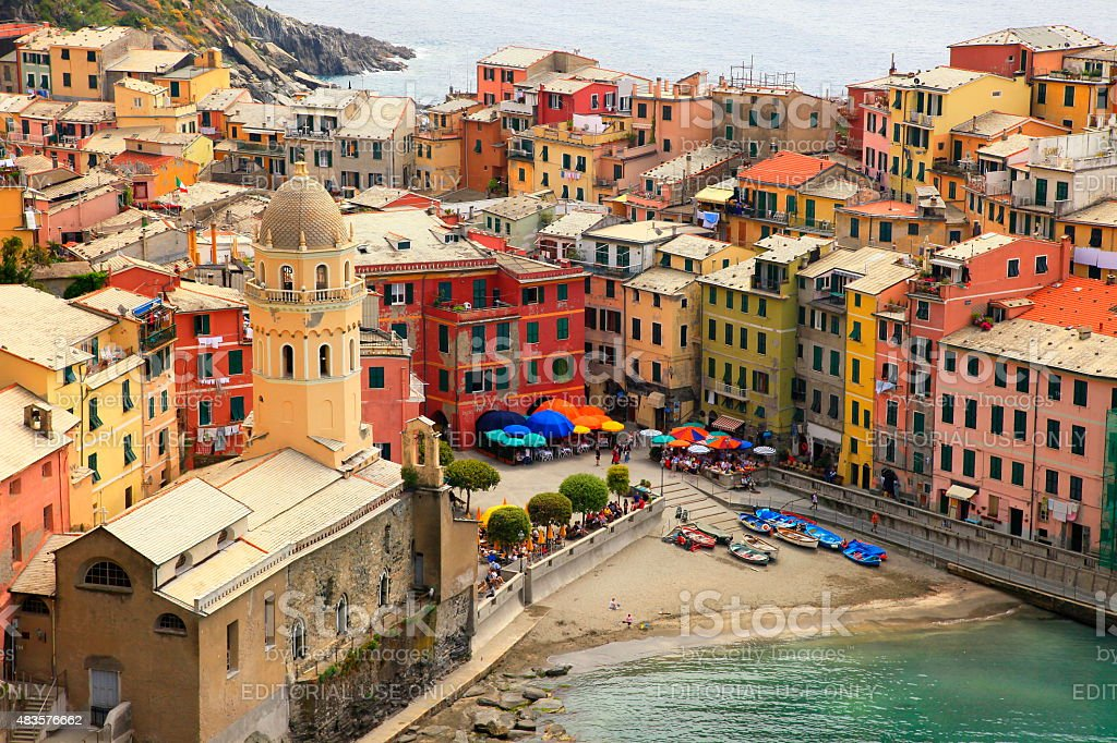Panorama of Vernazza colorful buildings and bay, Liguria, Italy stock photo