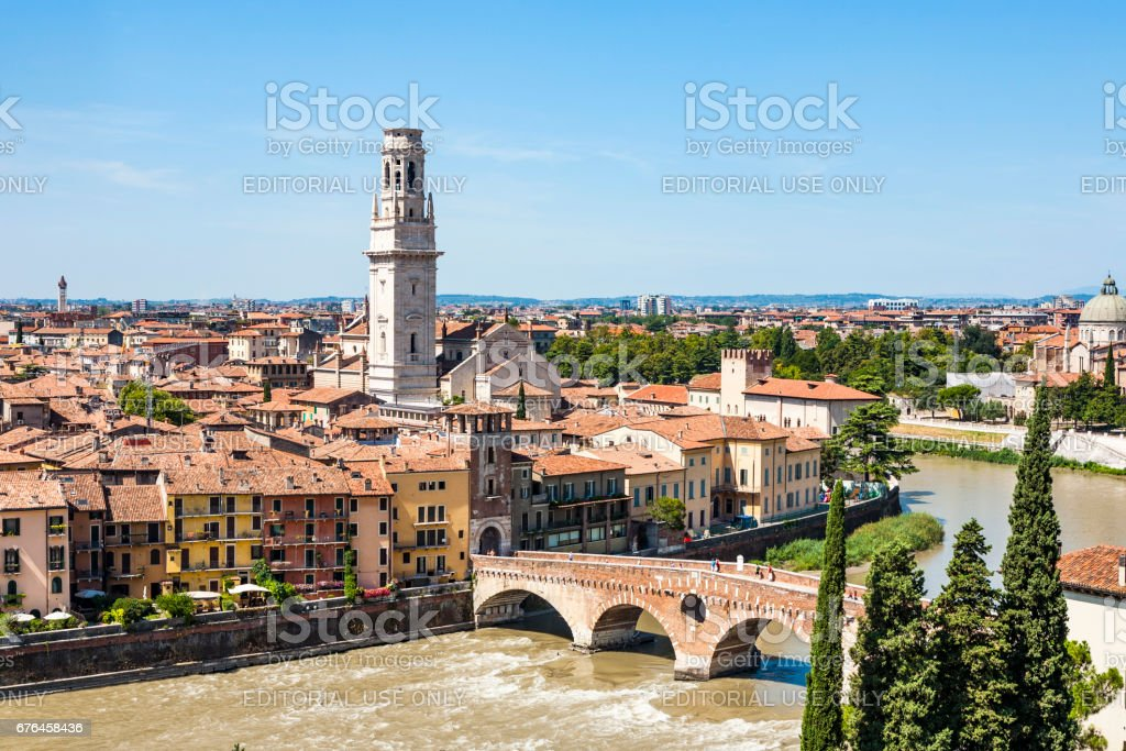 panorama of Verona with view of the old dome and the roman bridge stock photo
