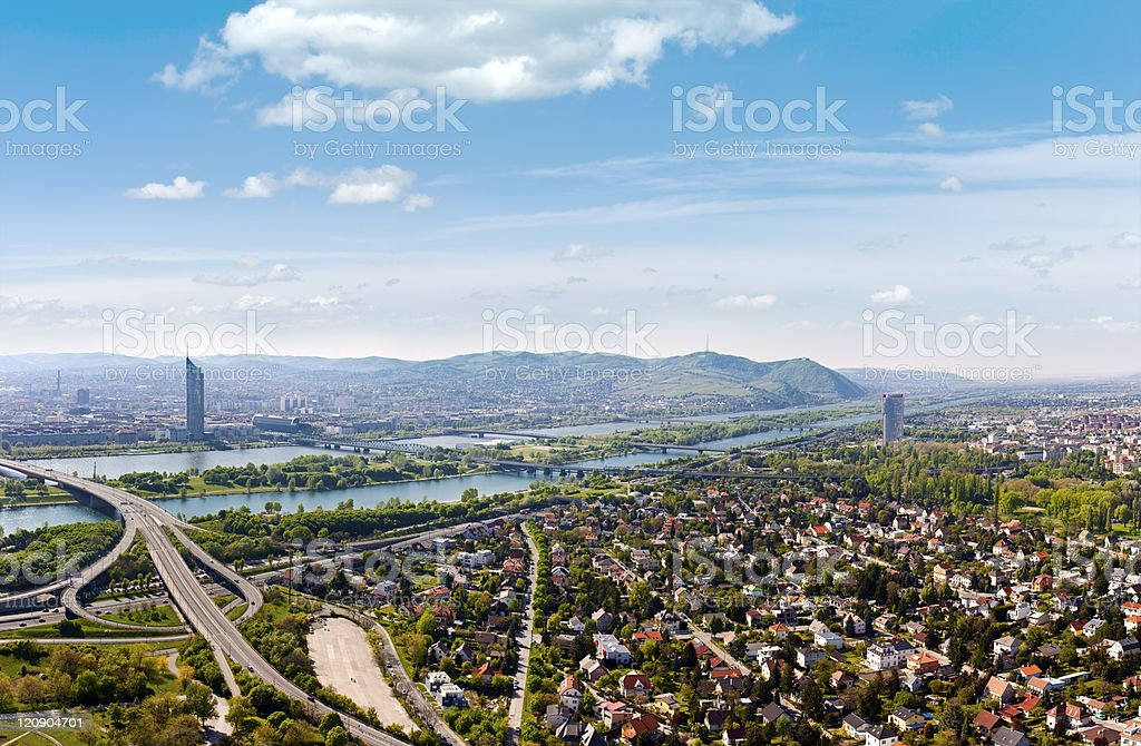 Panorama of Vienna with Danube River & Island (Donauinsel) royalty-free stock photo