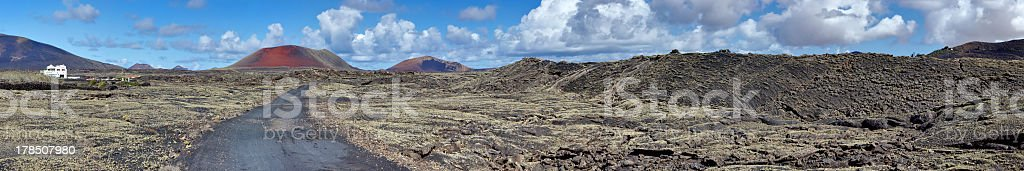 Panorama of volcanic field. Lanzarote, Canary Islands. royalty-free stock photo