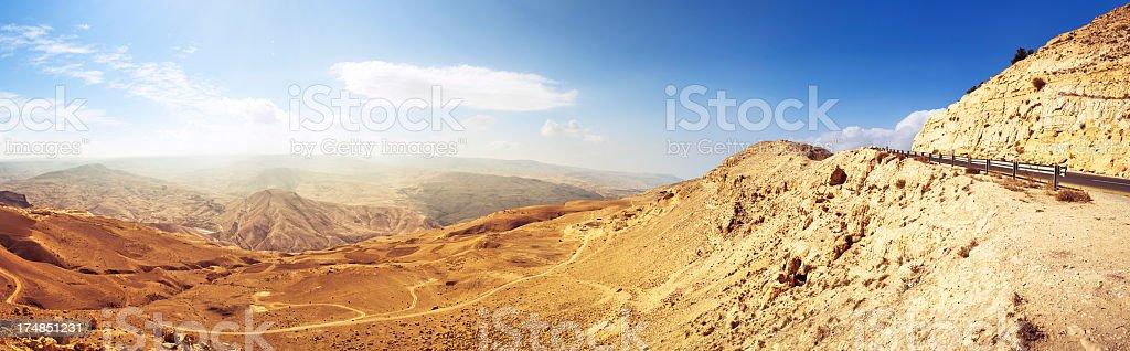 Panorama of Wadi Al Mujib Valley / Jordan stock photo