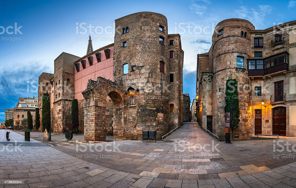 Panorama of Wall and Gate of Roman City Barcino stock photo