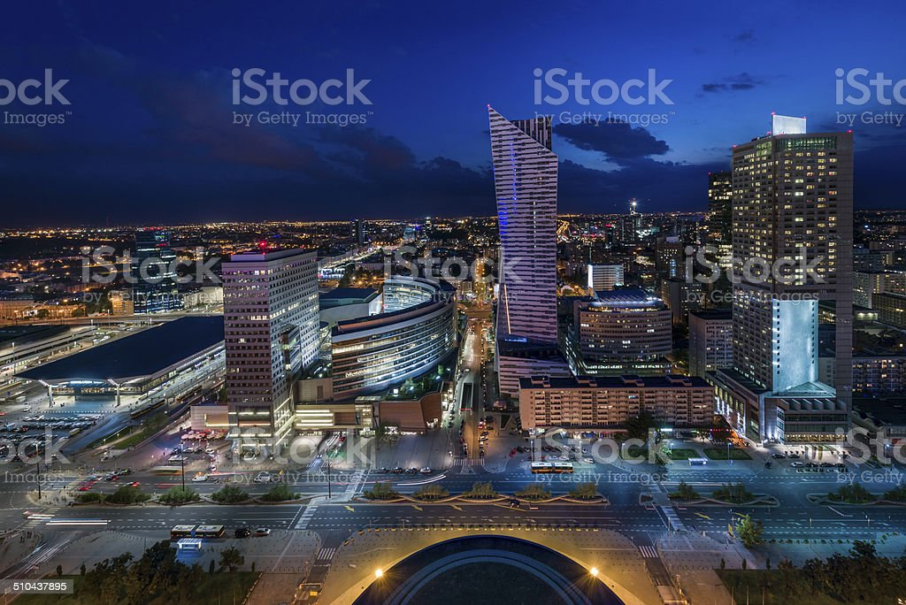 Panorama of Warsaw downtown during the night stock photo