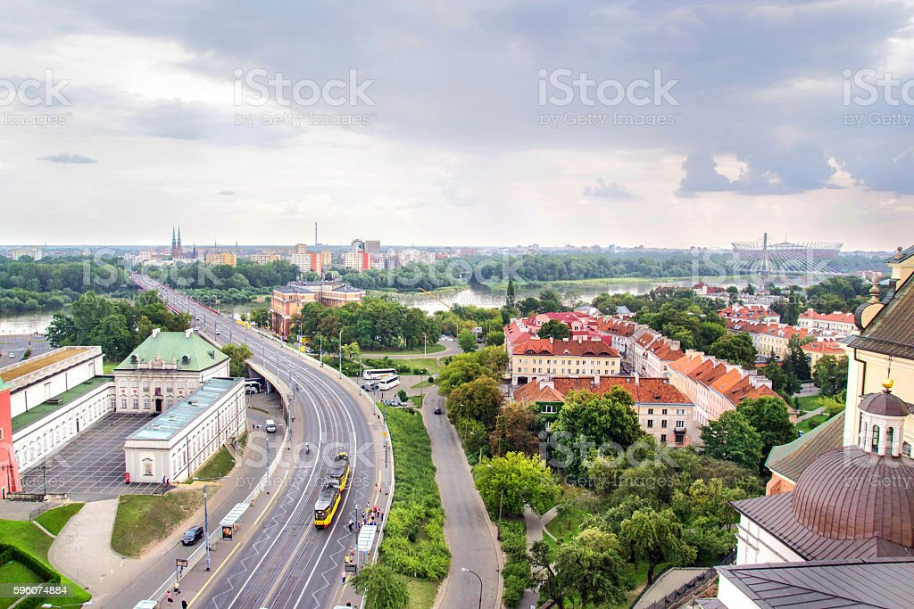 Panorama of Warsaw in Poland, stock photo