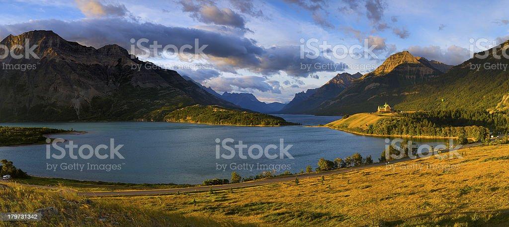 Panorama of Waterton Lakes National Park royalty-free stock photo