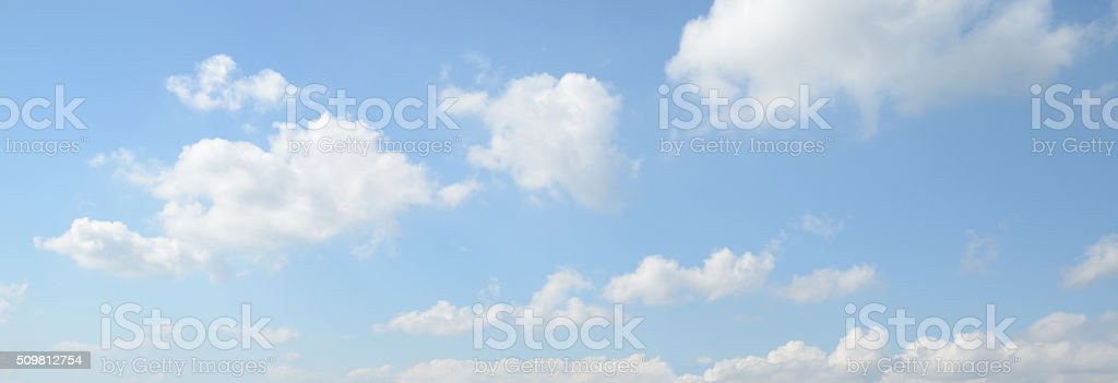 Panorama of white cloud and blue sky in morning stock photo