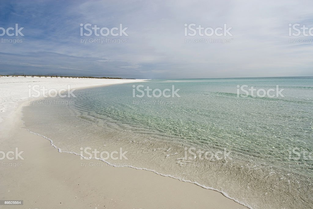 Panorama of White Sand Beach and Clear Water stock photo