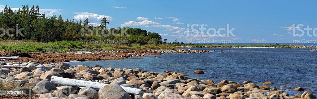 Panorama of White Sea coast on Bolshoy Solovetsky Island stock photo
