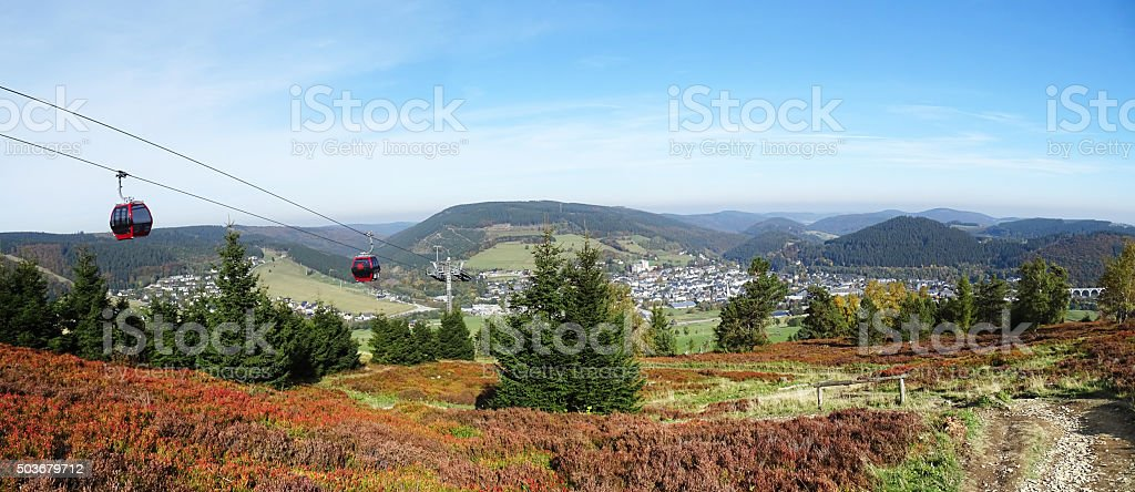 Panorama of Willingen in the Sauerland region (Germany) stock photo