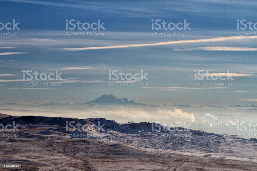 Panorama of winter mountains in Caucasus region stock photo