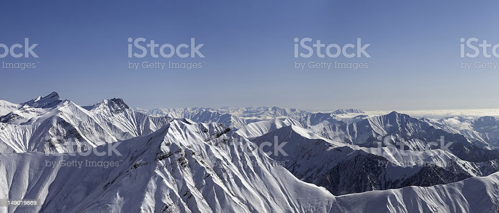 Panorama of winter mountains royalty-free stock photo