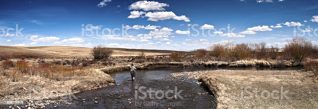 Panorama of Woman Fly-Fishing stock photo