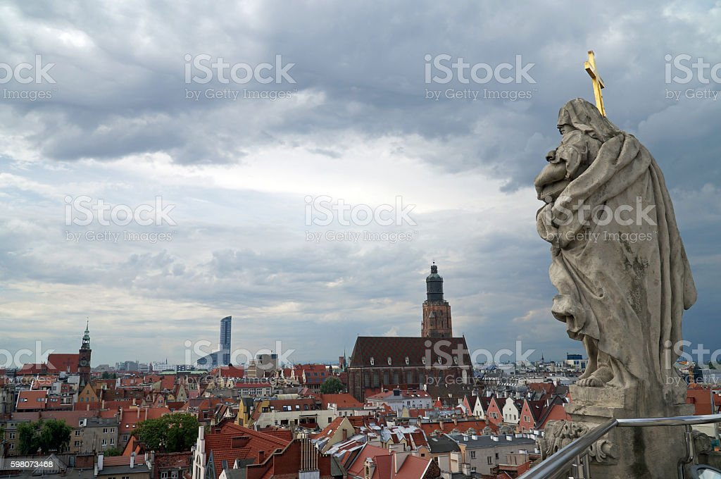 Panorama of Wroclaw stock photo