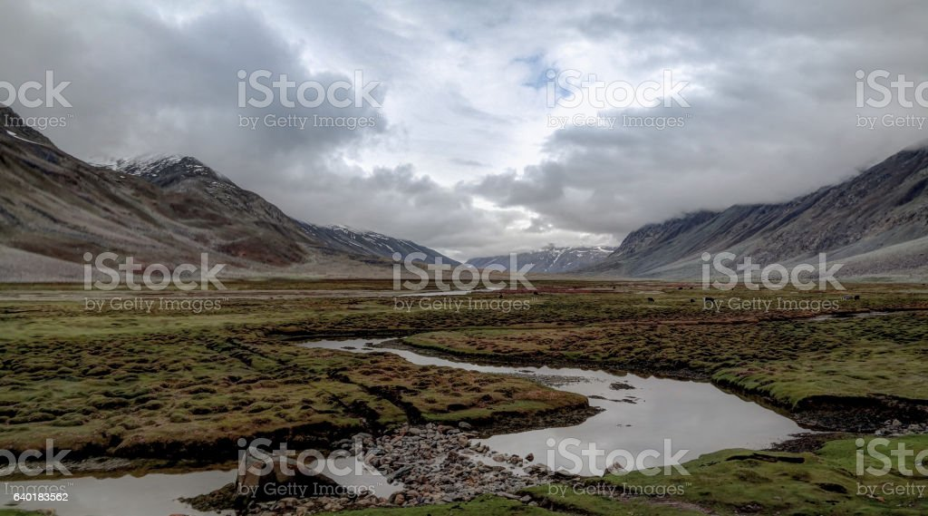 Panorama of Yasin river and Valley, Gilgit-Baltistan Province Pakistan stock photo