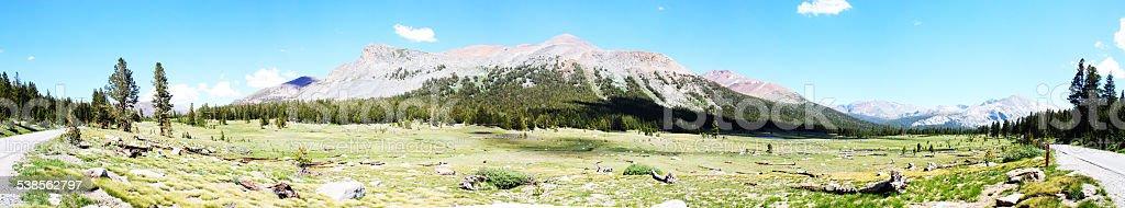 Panorama of Yosemite Tuolumne Meadows stock photo