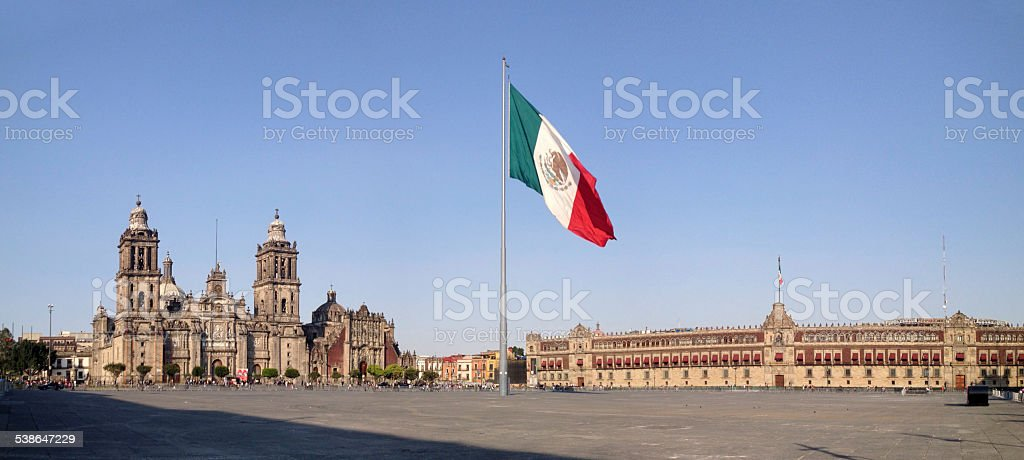 Panorama of Zocalo with Cathderal and National Palace, Mexico City stock photo
